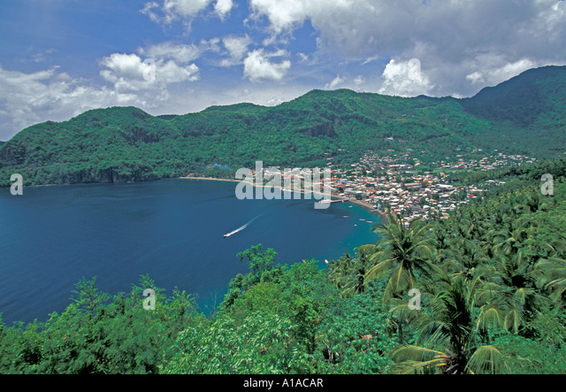 St Lucia scenic  overview above aerial landscape power boat wake Soufriere town  Saint Lucia - Stock Image