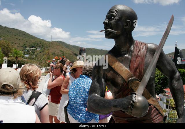 St. Thomas USVI Charlotte Amalie Blackbeard's Hill pirate statue sword - Stock Image