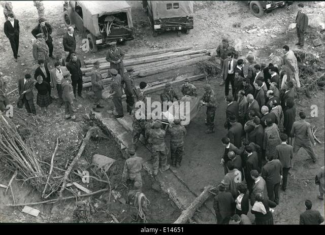 Apr. 16, 2012 - The Tragedy Of The Vajont Dam Disaster.: Longarone, Italy  12 Oct, 1963 ''The Scene As Italian - Stock Image
