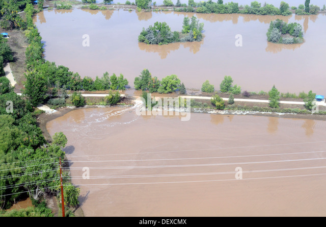 A view of state infrastructure destroyed by heavy rains, with some areas receiving as much as 18 inches in a 24 - Stock Image