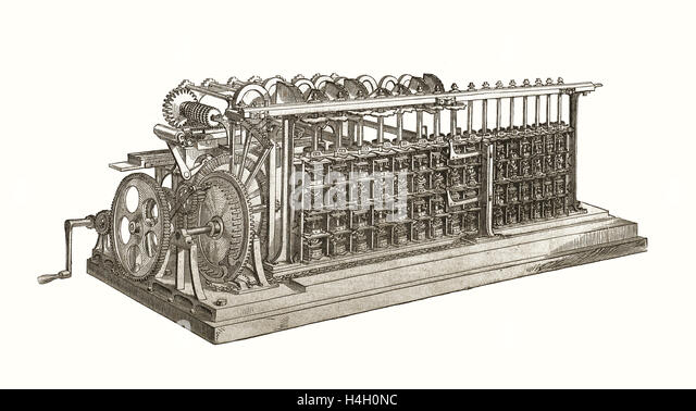 The Difference Engine by Charles Babage, being the first computer, nineteenth century - Stock-Bilder