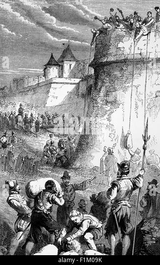The Seige of Paris in 1590 by King Henry IV of France, Who, taking pity on the inhabitants, allowed in Sacks of - Stock Image