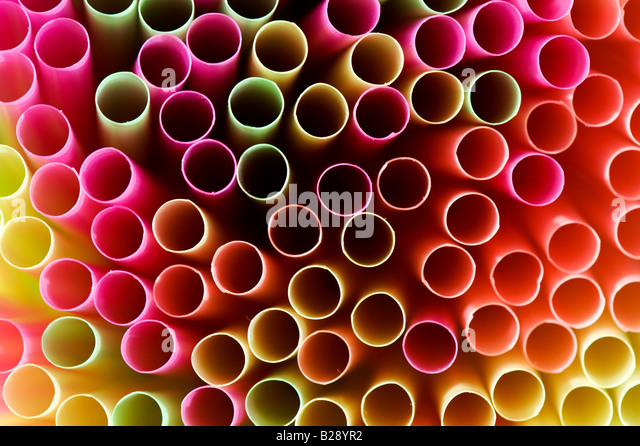 Drinking straws abstract pattern - Stock Image