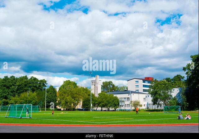 Munkkiniemenkenttä, athletics field, sports ground, Munkkiniemi district, Helsinki, Finland, Europe - Stock Image