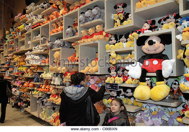 Manhattan New York City NYC NY Midtown Times Square Walt Disney Company Disney Store shopping themed merchandise - Stock Image