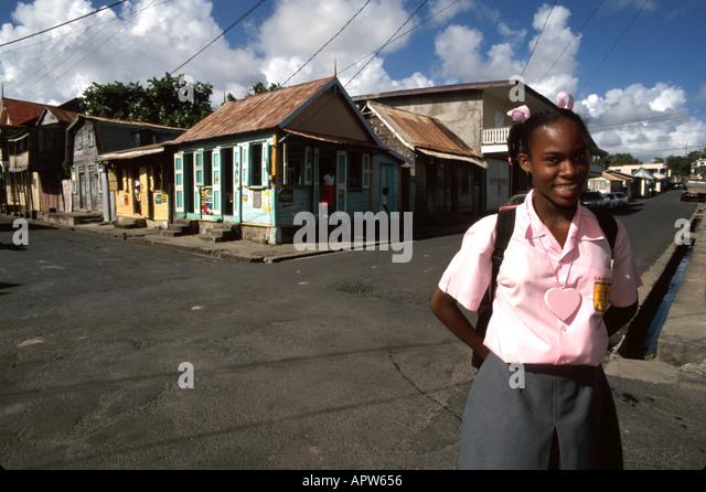 St. Lucia West Indies Vieux Fort Black student school uniform - Stock Image