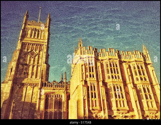 A grunge effect image of the St. John Baptist Anglican Church in Cirencester, Gloucestershire, England. To the left - Stock Image