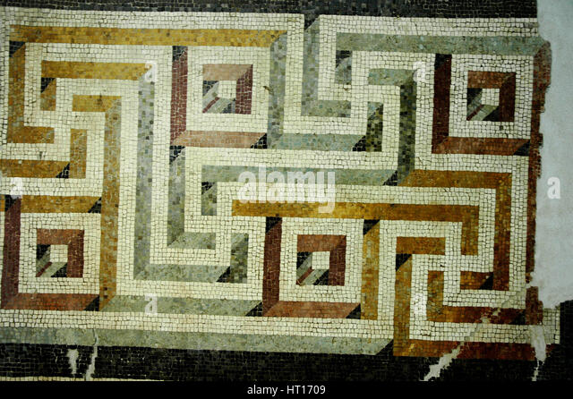 Geometric mosaic floor.  Culture: Roman.   Place of Origin: Rome. Credit Line: Werner Forman Archive Artist: Werner - Stock-Bilder