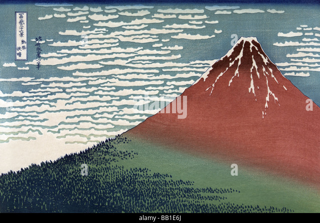 Red Fuji or South Wind,Clear Sky - Stock Image