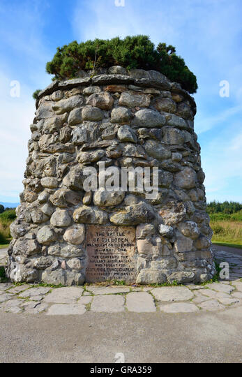 Memorial cairn at Culloden battlefield site on Culloden Moor, near Inverness, Highland, Scotland - Stock Image