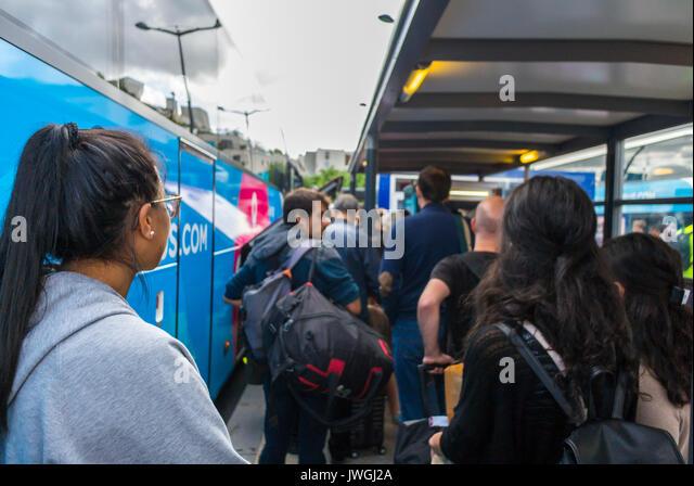 Paris, France, Tourists Travelling on DIscount Bus, Ouibus, Gare de Bercy - Stock Image