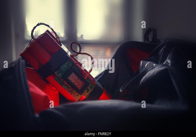 bomb and bag in airport - Stock Image