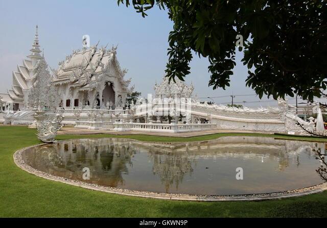 Thailand, Chiang Rai, Wat Rong Khun - white temple - Stock Image