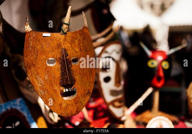 Traditional mask stall in Praca do Rossio, Lisbon, Portugal, Europe - Stock-Bilder