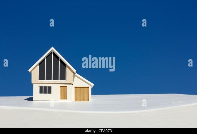 Model house on white base - Stock Image