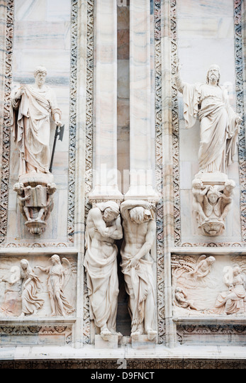Europe, Italy, Lombardy, Milan, Duomo, Milan Cathedral, gothic sculptures - Stock Image