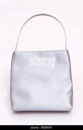 Silver woman's handbag purse - Stock Image