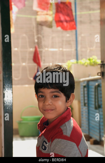 Portrait of young boy - Stock Image