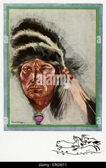 Cree american in war dress, after an illustration by Paul Cage. Title reads: 'Indien Cri portant le bonnet de - Stock-Bilder