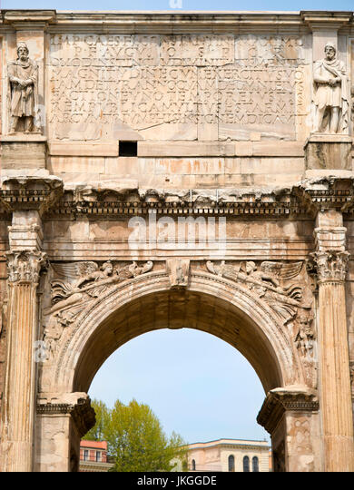 Vertical close up view of the Arch of Constantine in Rome. - Stock Image