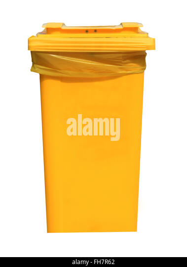 Yellow recycling bin isolated on a white background. - Stock Image