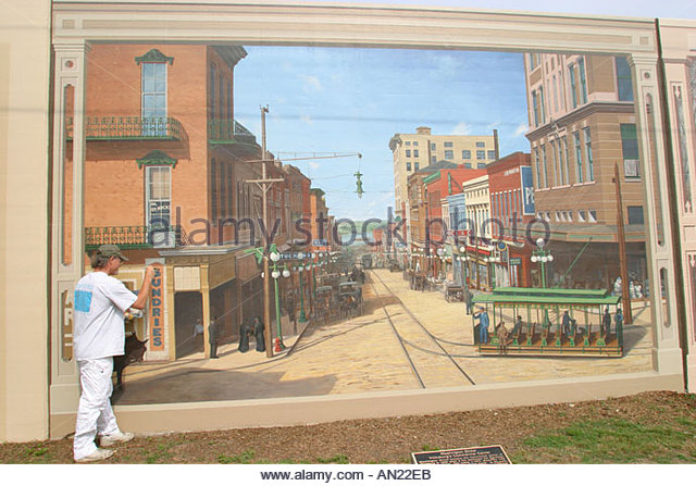 Mississippi Vicksburg Yazoo River flood wall murals - Stock Image