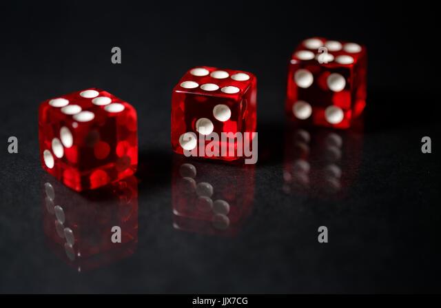 Red Sic Bo gambling dice - Stock Image