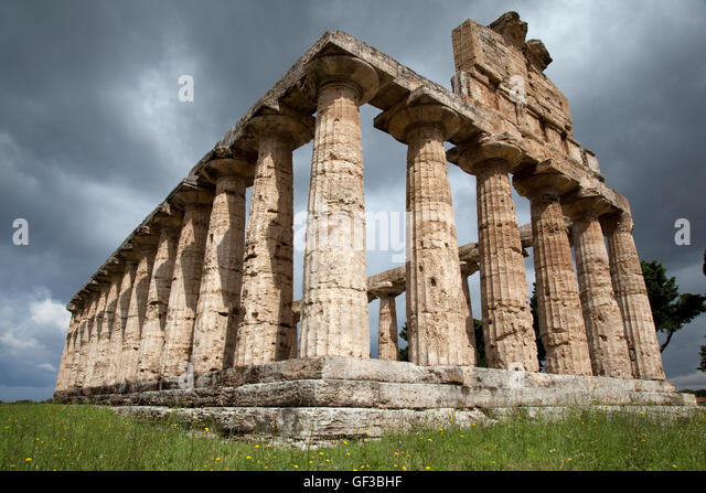 The Ceres temple in Paestum, Italy. - Stock Image