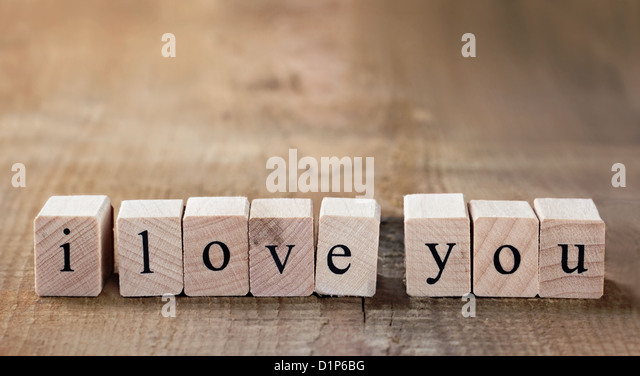 Message I love you spelled in wooden blocks with copy space - Stock-Bilder