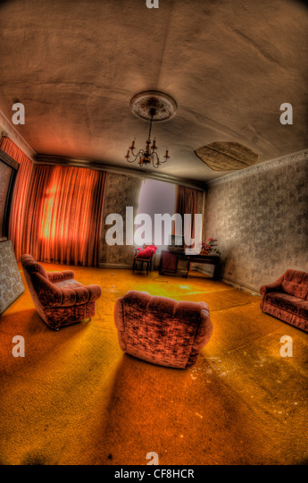 Interior of disused hotel near East German border - Stock Image