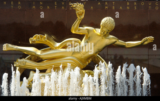 Golden Colored Statue of Prometheus and Fountain at Rockefeller Center in New York City USA - Stock Image