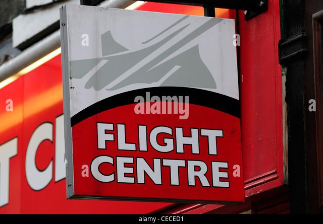 Flight Centre Travel Agent's Sign, Cambridge, England, UK - Stock-Bilder