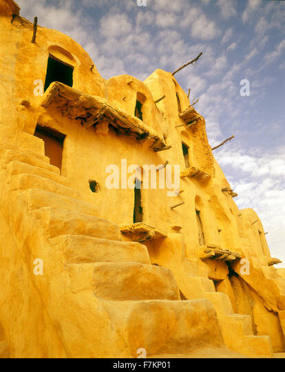 Exterior of a settlement ghorfa in Ksar Ouled Soltane. Tunisia - Stock Image