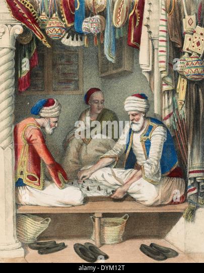 Scenes de Moeurs - Moors playing board games, circa 1880 - Stock-Bilder