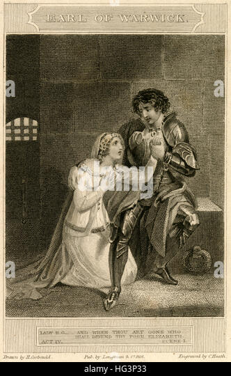 Antique 1816 engraving, scene from 'The Earl of Warwick, A Tragedy in 5 Acts' by Dr. Thomas Franklin. SOURCE: - Stock Image