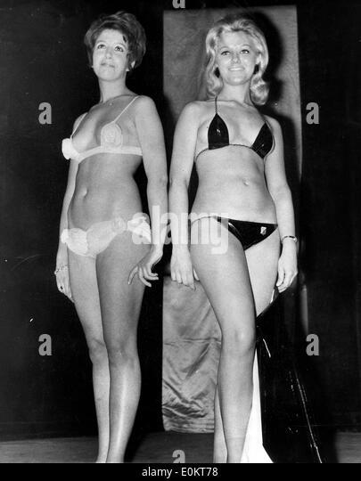 Jan. 01, 1950 - File Photo: circa 1940s-1950s, location unknown. Girls posing in bikini's in fashion shows, - Stock Image