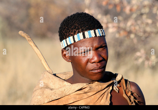 Photo of a bushman in Botswana, Africa - Stock Image