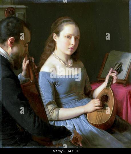 The duet - by Charles van Beveren, 1830 - 1850 - Stock-Bilder
