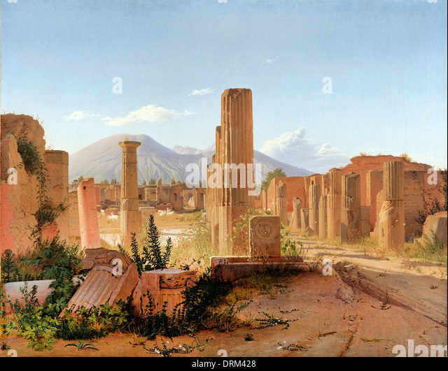 Christen Kobke, The Forum at Pompeii with Vesuvius in the Background 1841 Oil on canvas. The J. Paul Getty Museum. - Stock-Bilder