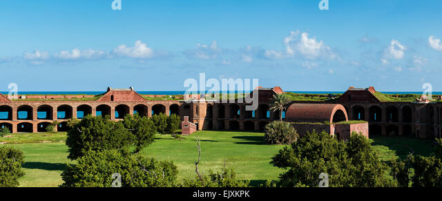 Panorama view of Fort Jefferson National park - showing the interior area and the fort walls - Stock Image