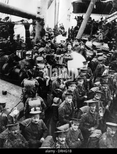 Soldiers on board SS Lake Michigan, WW1 - Stock-Bilder