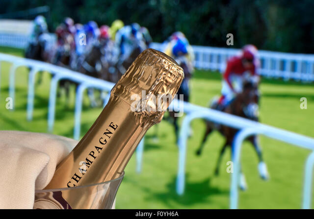 CHAMPAGNE HORSE RACES RACING Luxury Champagne in ice bucket with Ladies Day Royal Ascot horse racing in background - Stock Image