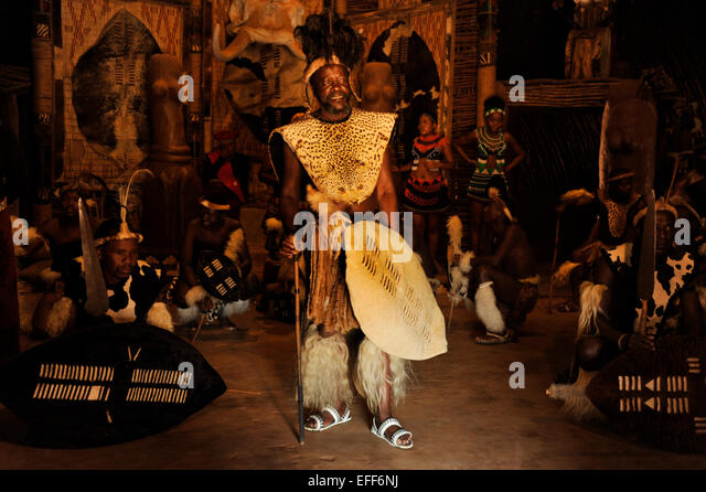 Zulu chief with shield surrounded by dancers in warrior dress during traditional dance show Shakaland KwaZulu-Natal - Stock-Bilder