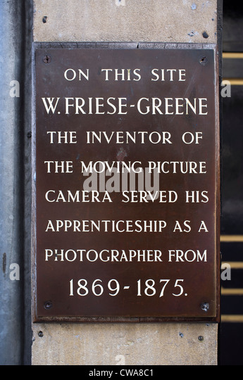 W Friese-Greene Inventor of moving picture camera plaque - Stock Image