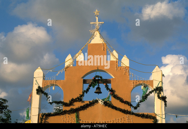 cancun mexico area maya church steeple - Stock Image