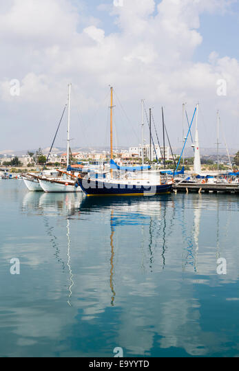 yachts in Zygi harbour, Cyprus - Stock Image