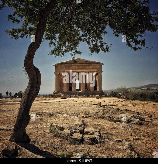 Temple of Concord . Valley of the temples Sicily - Stock Image