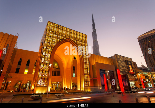 Dubai Mall next to Burj Khalifa , biggest shopping mall in the world with more than 1200 shops, Dubai, UAE - Stock Image