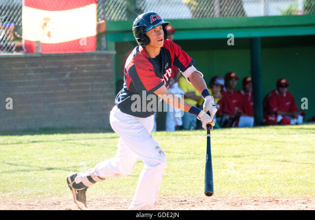 Gijon, Spain. 15th July, 2016. Votjtech Mensik (Czech Republic) hits the ball during the baseball match of round - Stock Image