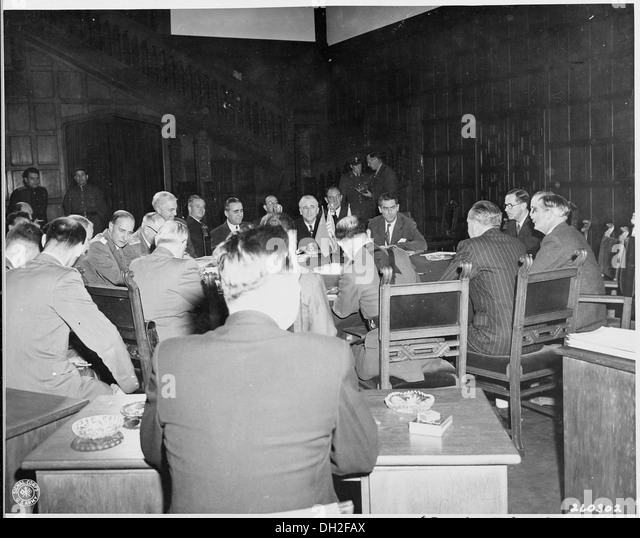 Foreign ministers meeting during the Potsdam Conference. Secretary of State James Byrnes is at top of table, behind... - Stock Image